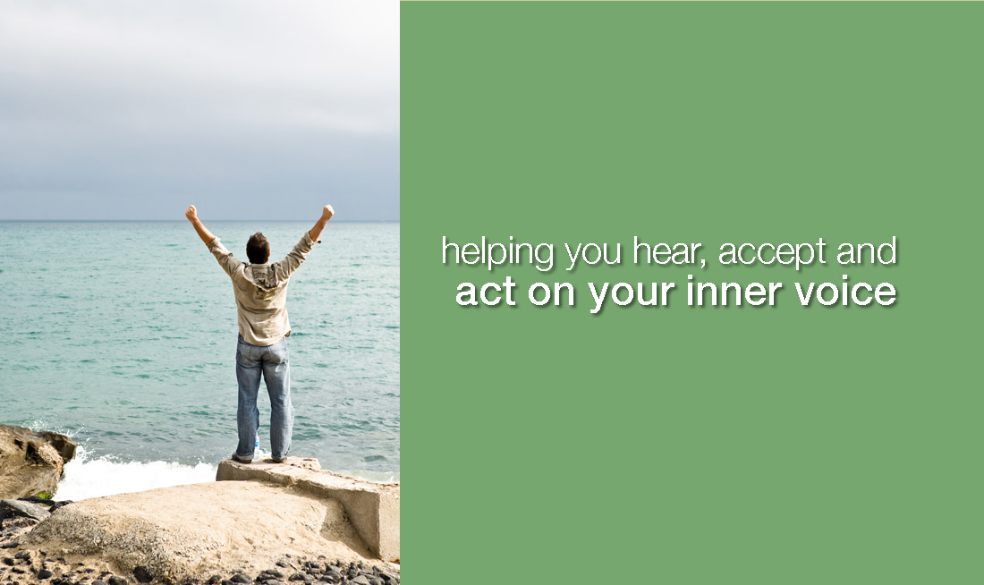 victorious man on shore, captioned helping you hear, accept and act on your inner voice