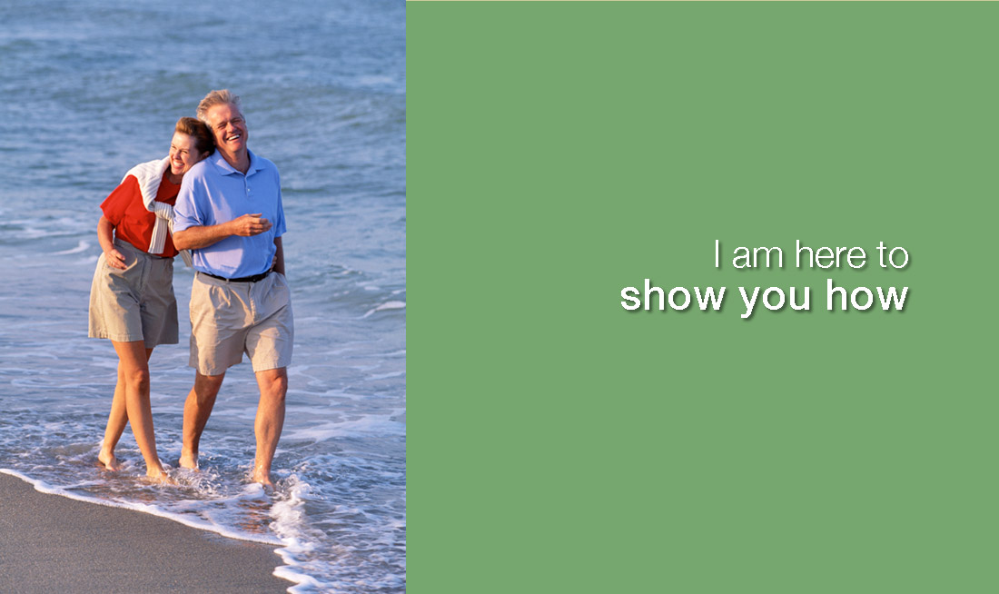 couple walking on beach, captioned I am here to show you how